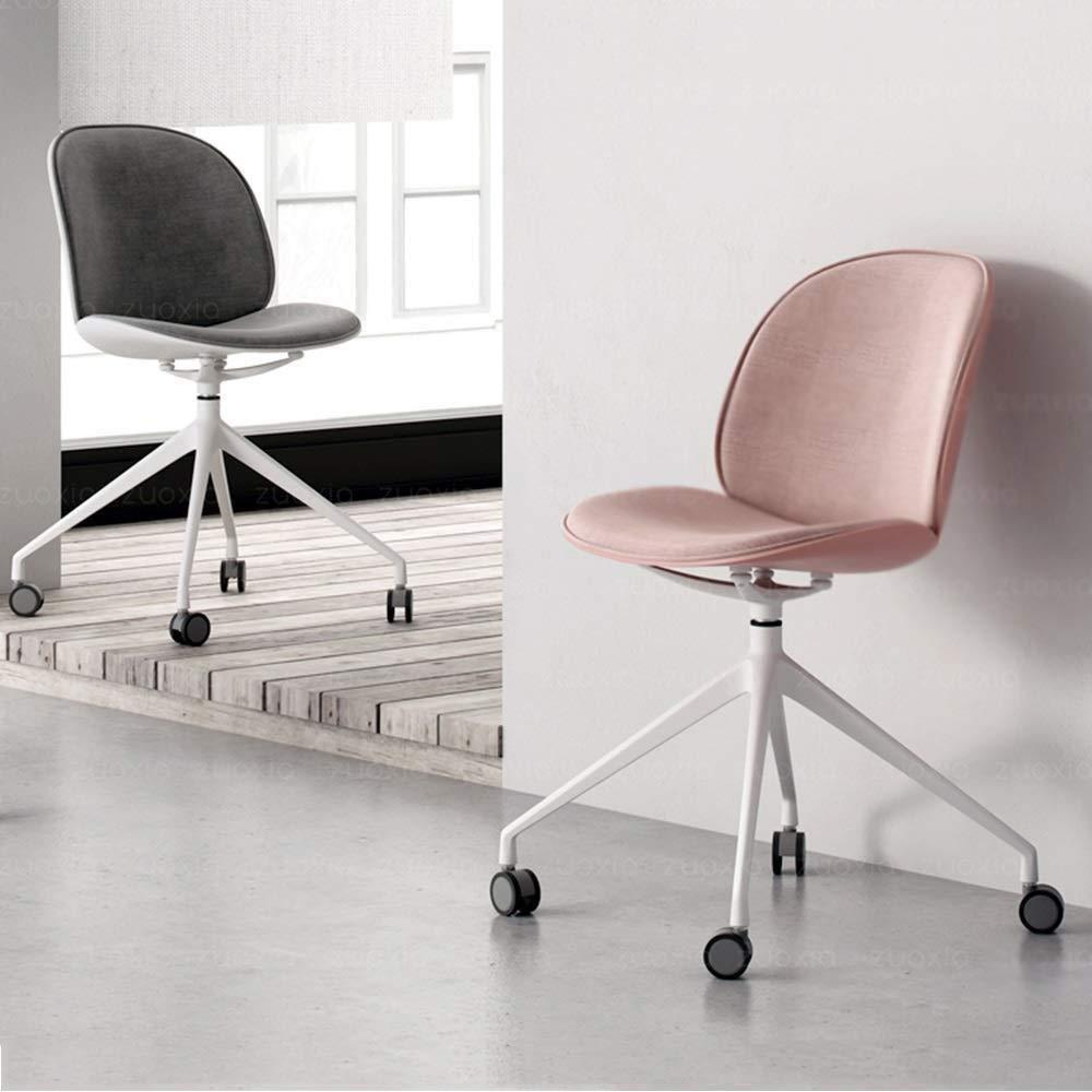 Barstolar Xiuyun kontorsstol spelstol kontorsstol, halvförpackad bomull och linne ryggstöd svängbar stol för kontor hem dator arbetsrum svängbar stol (färg: svart) Svart