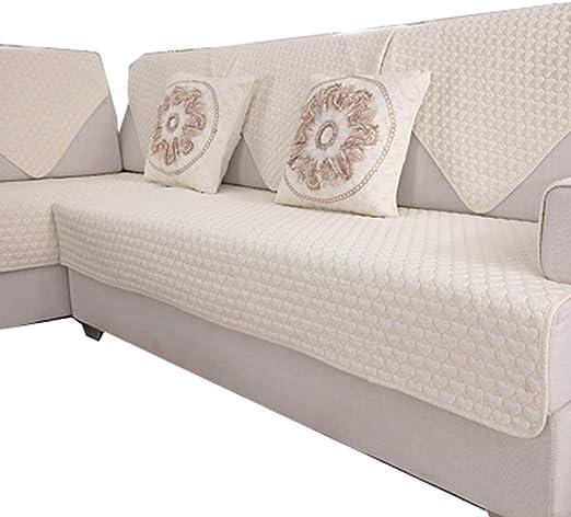 DFamily Antideslizante Protector de sofá Muebles Estilo Europeo Funda de sofá Color sólido Algodón Funda Cubre sofá Seccional Protector de sofá Muebles-F 90x180cm(35x71inch)(1 Pieza): Amazon.es: Hogar