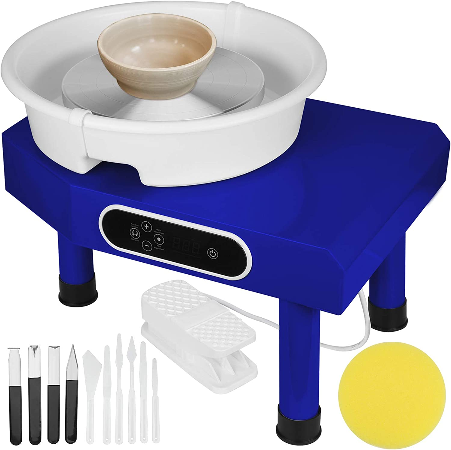 LCD Pottery Wheel for Adults Kids Beginners, 350W Pottery Wheel Machine with Foot Pedal, Removable Basin, 9.8in Ceramic Turnable, 11 Pottery Tools, Christmas Gifts (Blue)