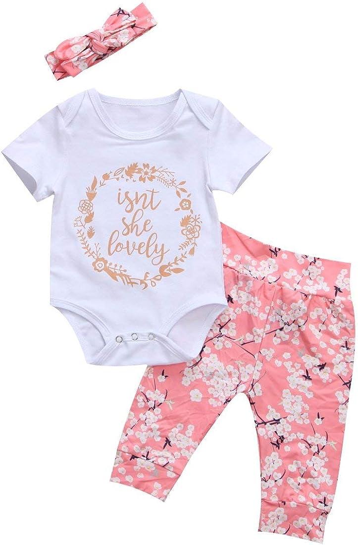 MA/&BABY Unisex-Baby Isnt She Lovely 0-18M Infant Newborn Baby Short Sleeve Cotton Bodysuit Tops Floral Pant Headband