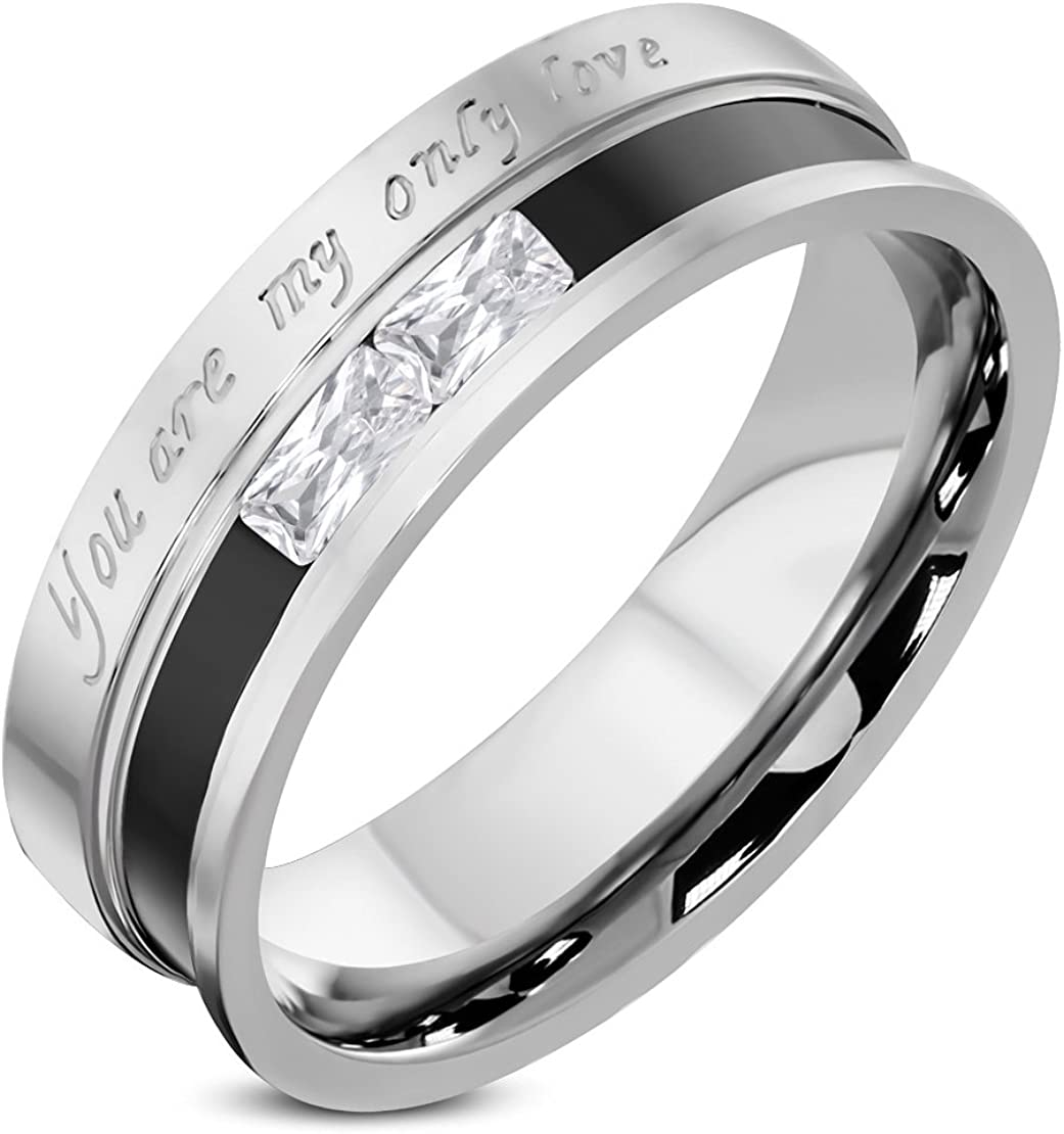 Stainless Steel 2 Color Affirmation Love Comfort Fit Wedding Band Ring with Clear CZ