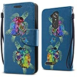 zte max for family mobile - FINCIBO Case Compatible with ZTE Max XL, Fashionable Flap Wallet Pouch Cover Case + Credit Card Holder with Kickstand For ZTE Max XL N9560 - Sea Turtles Family