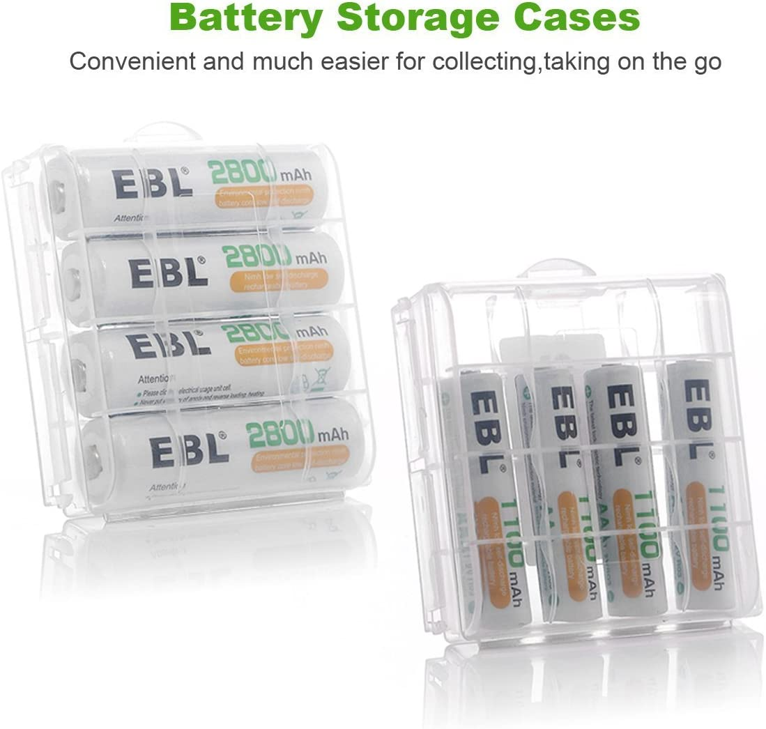 EBL Charger with Batteries - 8Bay Battery Charger and AA Batteries 2,800mAh (4Pcs) & AAA Rechargeable Batteries (4Pcs) - Durable & Long lasting Batteries