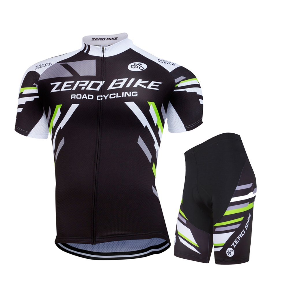 ZEROBIKE Outdoor Cycling Lightweight Top Bicycle Riding Shirt Breathable Short-Sleeve Jersey and Tight Pant for Men karru