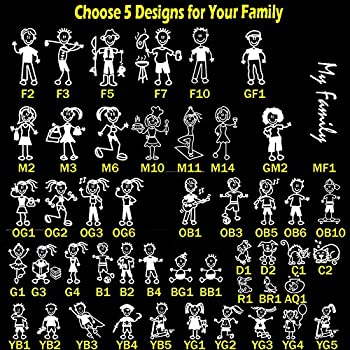 Totomo choose 5 figures from 48 unique designs stick figure my family car stickers with pet dog cat fish rabbit bird family car decal sticker for windows