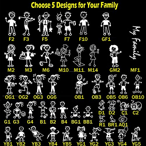 TOTOMO Choose 5 Figures from 48 Unique Designs Stick Figure My Family Car Stickers with Pet Dog Cat Fish Rabbit Bird Family Car Decal Sticker for Windows Bumper (Figure Car Stick Sticker)