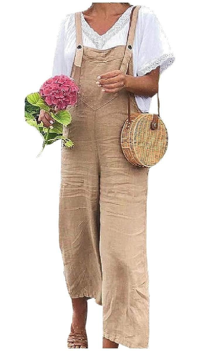 Energy Women's Wide Legs Cotton/Linen Solid Color Overalls Bib Pants