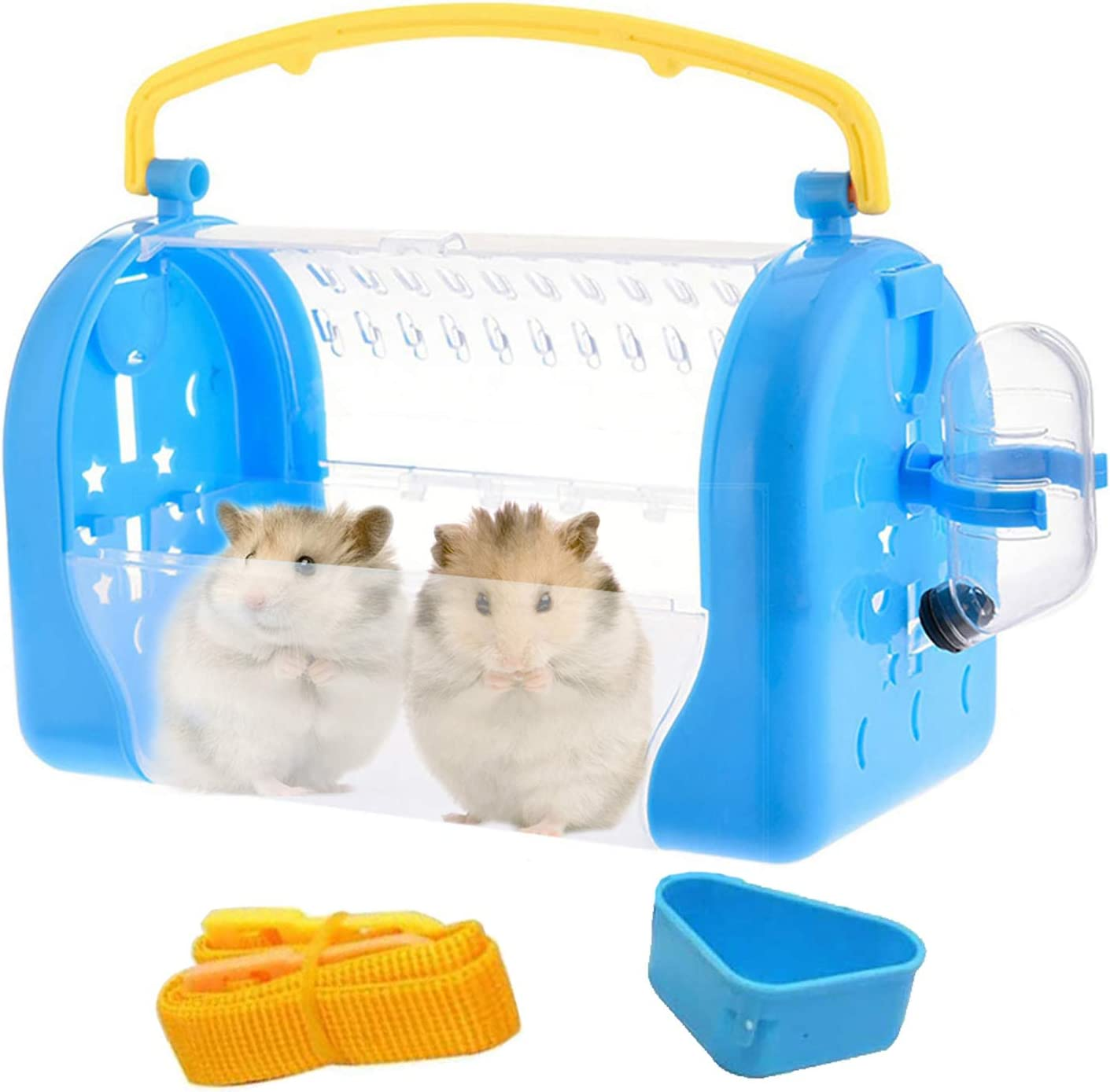 kathson Portable Hamster Cage Mouse Carry Travelwith Water Bottle Food Bowl Nylon Strap Carrier for African Miniature Rabbit Chinchilla Squirrel and Other Small Animals