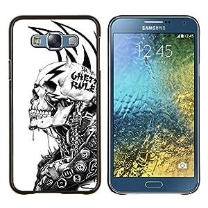 LECELL--Funda protectora / Cubierta / Piel For Samsung Galaxy E7 E700 -- Grunge Mech Esqueleto --