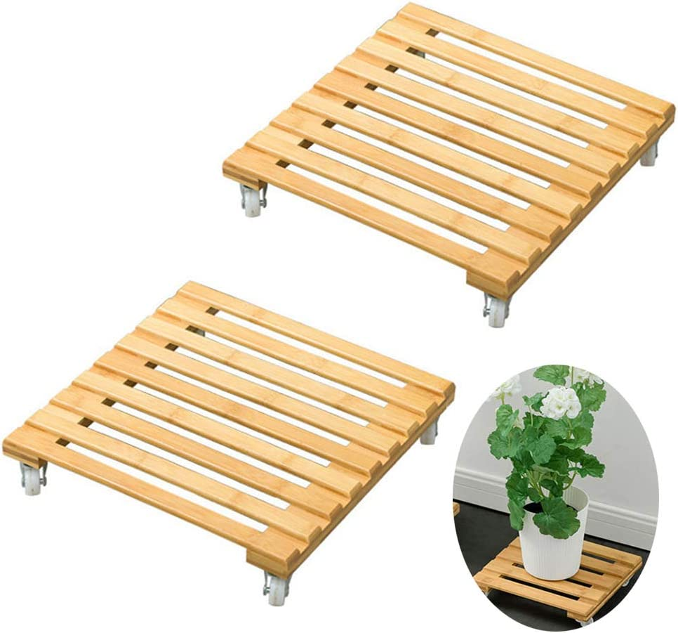 Pot Mover Planter Pallet for Indoor Outdoor Home Garden kgjsdf Bamboo Movable Potted Plant Flower Pot Stand with Wheels