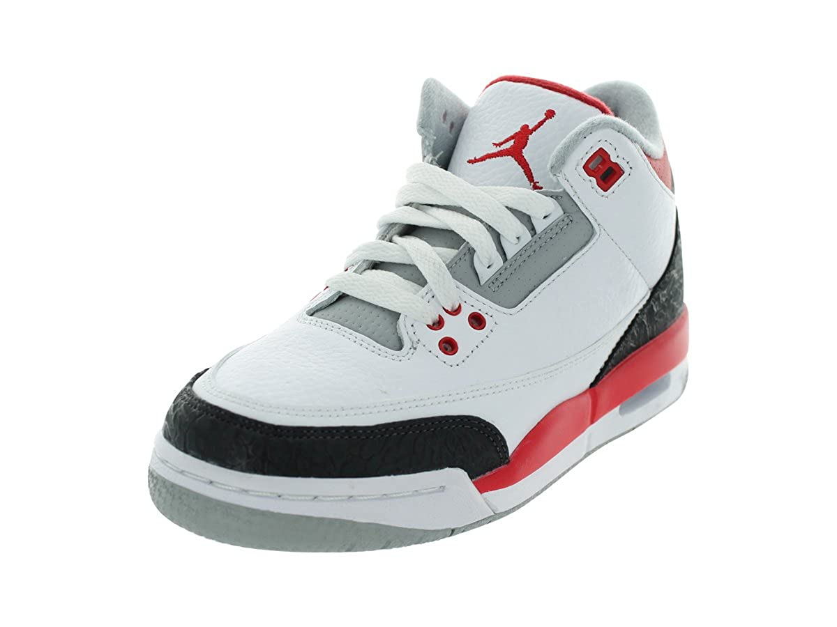 san francisco b3d67 d83e7 Amazon.com   Nike AIR JORDAN 3 RETRO (GS) WHITE FIRE RED-SILVER-BLACK  398614-120 (4.5Y (23.5 CM))   Basketball