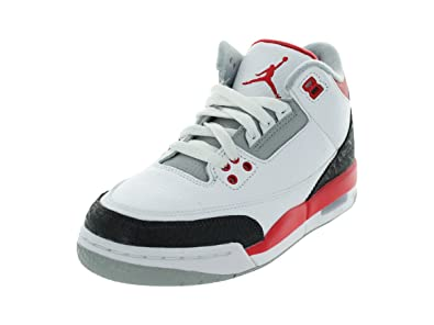 Jordan 3 Retro (GS) Big Kids Shoes White/Fire Red-Silver-