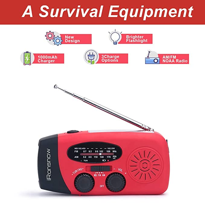 (Classic Creator) iRonsnow Solar Emergency NOAA Weather Radio Dynamo Hand Crank Self Powered AM FM WB Radios 3 LED Flashlight 1000mAh Smart Phone ...