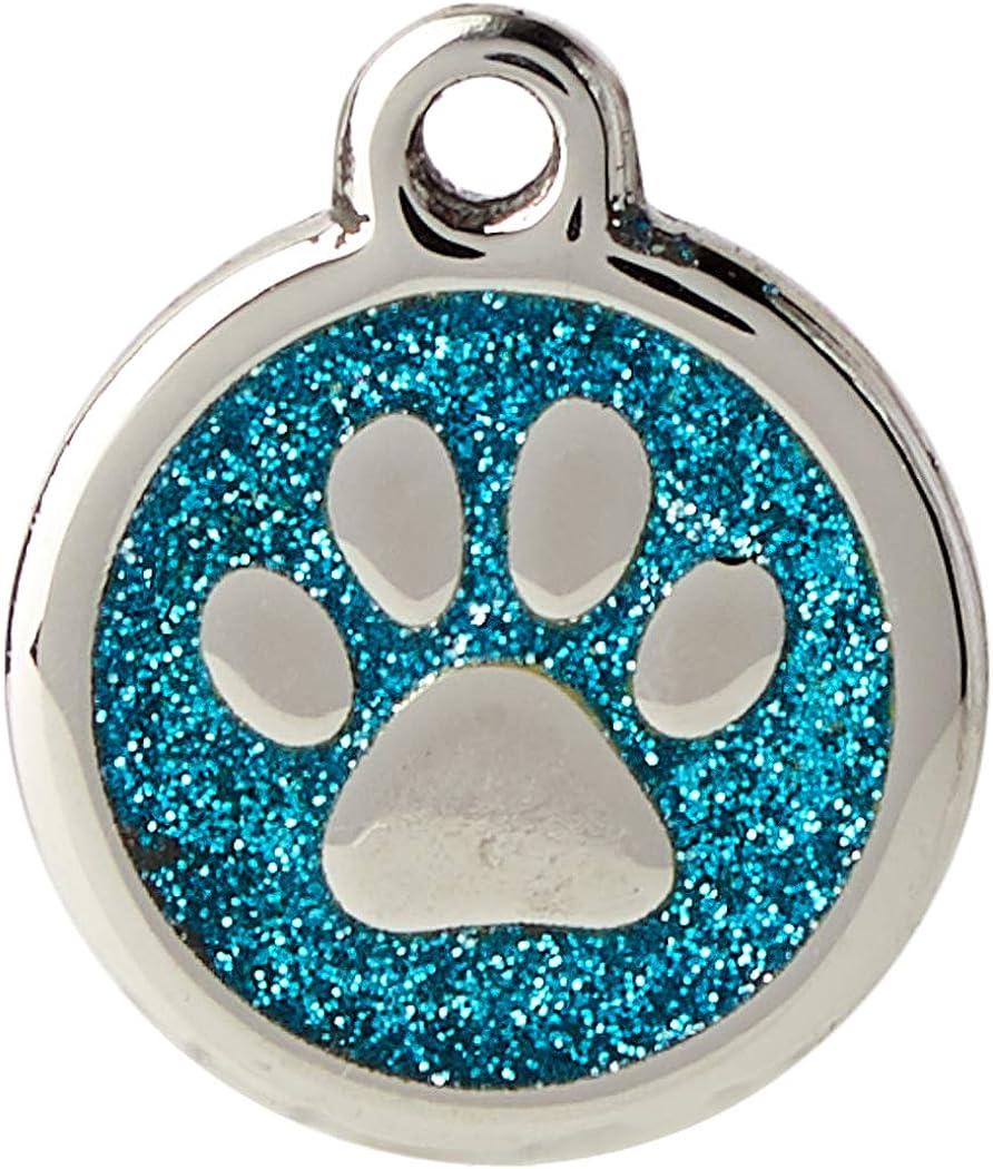 Red Dingo - Placa de identificación diseño de purpurina para mascotas - diseño zarpa