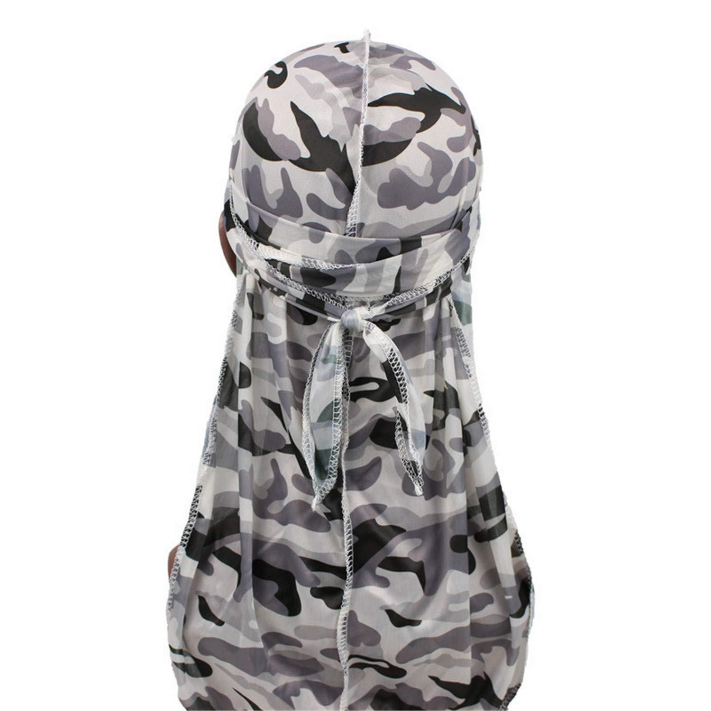 Frauen Männer Long Tail Silky Bandana Turban Hut Durag Headwear Chemo Kappe