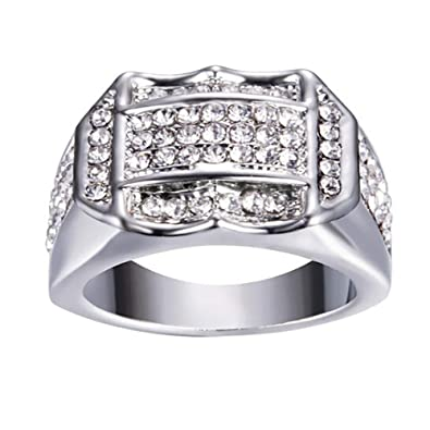 Amazon Com Lethez Men Rings Diamond Insert Business Ring Wedding