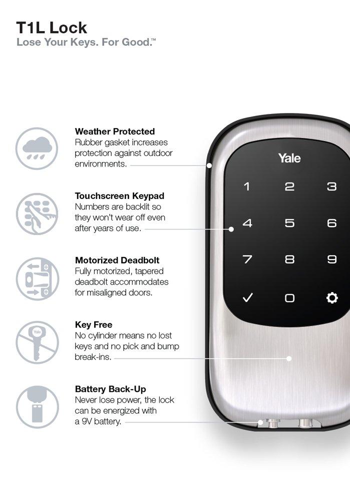 Yale Security YRD110ZW619 Push Button Deadbolt Satin Nickel Inc electronic door lock keyless deadbolt keypaddoor lock keypad deadbolt z-wave deadbolt z-wave door lock