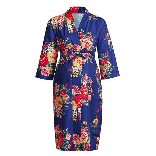 db0e6e790254e iLXHD Maternity Floral Lace Trim Delivery/Nursing Robe 3/4 Sleeve Nightgowns  Hospital Breastfeeding