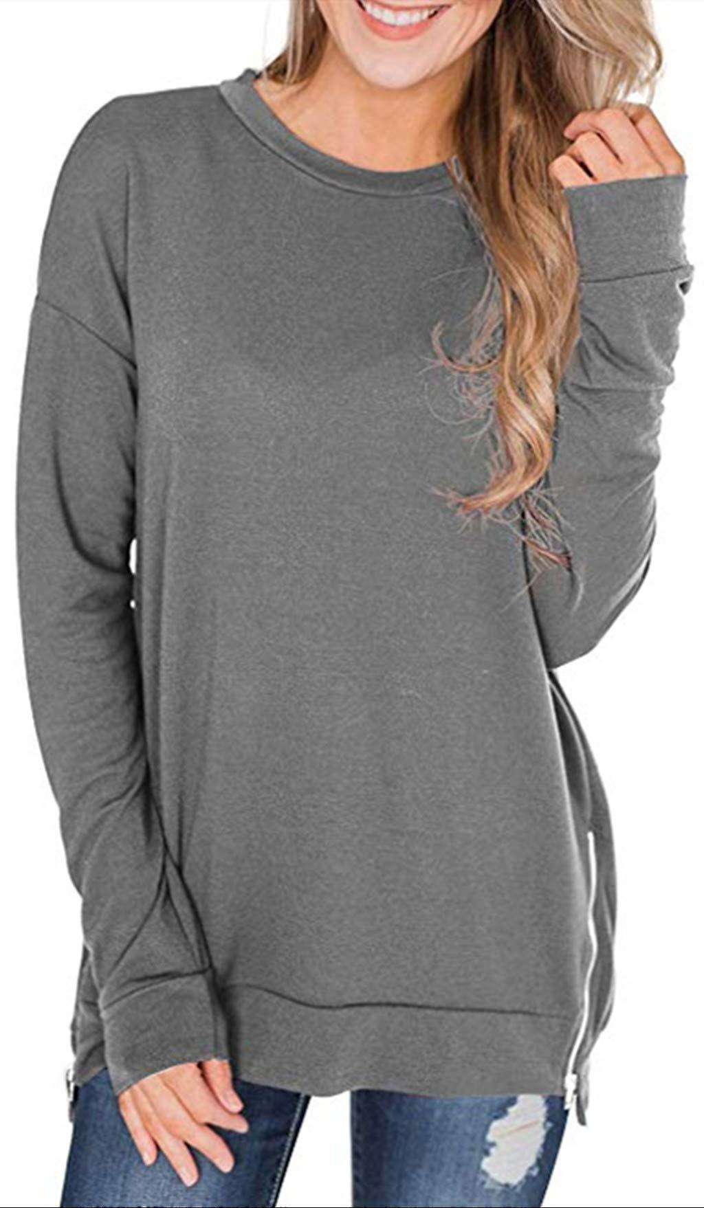 Kelove Womens Solid Color Crew Neck Long Sleeve Zipper Sweatshirt,Novelty Sweatshirts Women Gray by Kelove