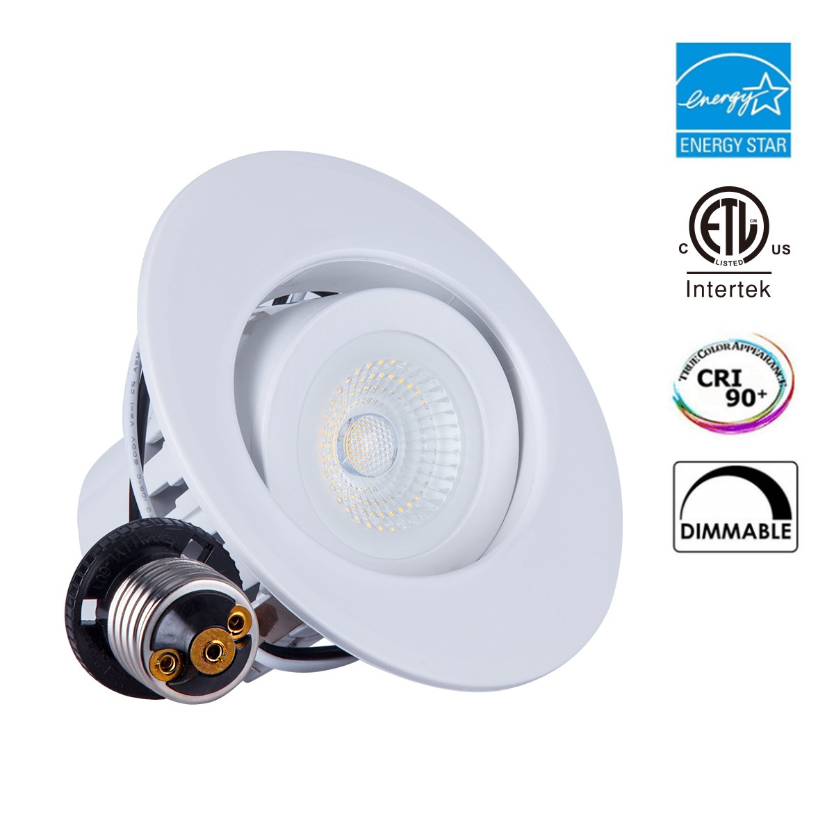 Lighting 1 Pack 4 inch COB Dimmable Gimbal Recessed LED Downlight, High CRI 90+ t, 10W (75W Equiv.), ENERGY STAR, 5000K Daylight, 800lm,Adjustable Eyeball LED Retrofit Lighting Fixture,5 Year Warranty