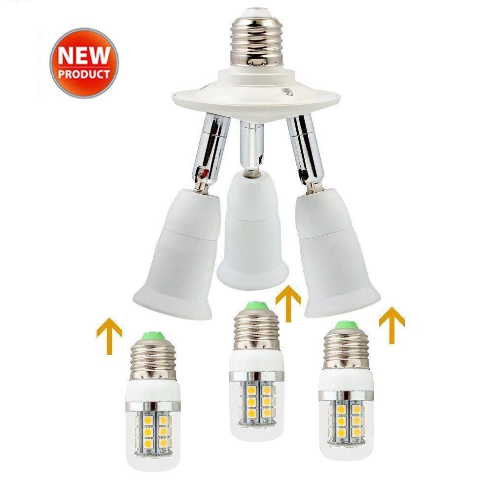 E26 E27 3 Socket Adapter E27 LED Light Bulb Converts 1 Socket into 3 - Use for Standard Socket E27 LED Bulbs Universal Head 360 Degrees Adjustable,180 Degree Bending