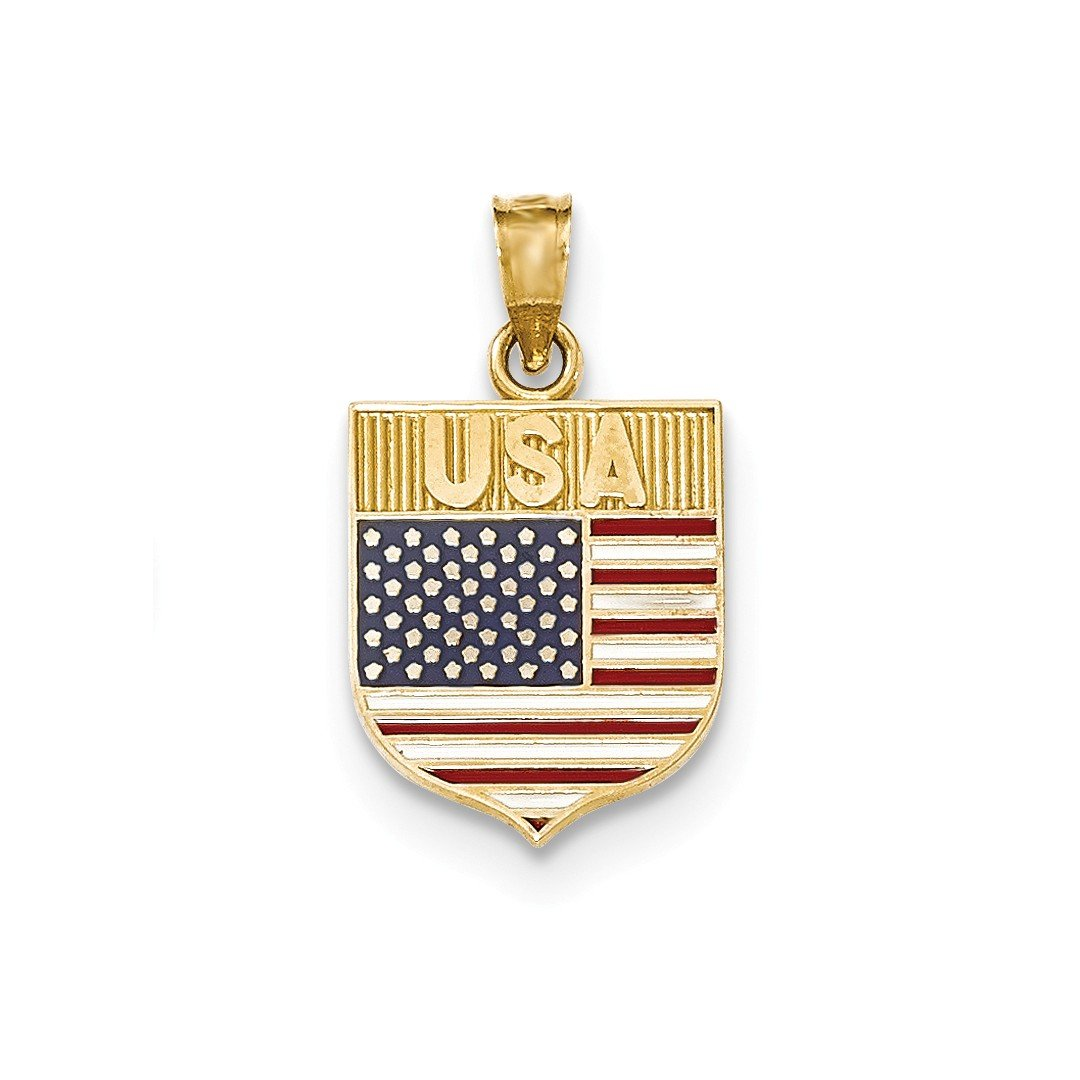 ICE CARATS 14k Yellow Gold Usa Flag Enameled Pendant Charm Necklace Travel Transportation Patriotic Fine Jewelry Ideal Mothers Day Gifts For Mom Women Gift Set From Heart