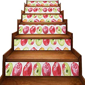 "Apple Removable Self Adhesive Stair Stickers Watercolor Macoun Cameo and Granny Smith Drawing in Agricultural Yield Pattern Sticker Decor Apple Green Red W 39"" x H 7"" x 6pcs."