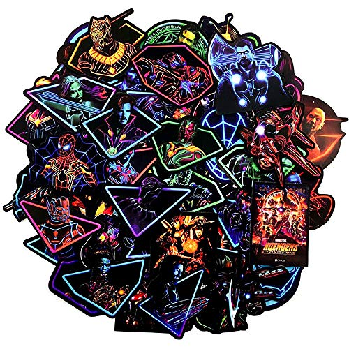 Noctilucent Stickers Marvel Avengers Laptop Stickers Decal-50pcs Waterproof Graffiti Stickers Water Bottle Vinyl Sticker Decals for Superheros,MacBook Car Helmet Bike Motorcycle Bumper (Not Random)