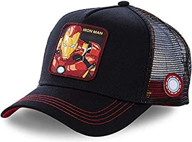 Gorra Visera Curva Trucker Marvel Iron Man Negra con Bordes Rojos