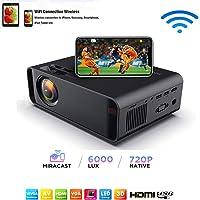 SOTEFE® Mini LED Proyector Portable 6000 Lumens - WiFi Proyector Portátil Full HD 1080P Video Multimedia Para iPhone/Samsung/Sony/Hauwei Smartphone Compatible con HDMI/USB/Tarjeta SD/VGA/AV/TV Box/PS4
