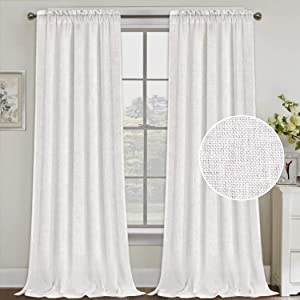 Natural Linen Curtains 108 Inches Extra Long Rod Pocket Semi Sheer Curtain Drapes Elegant Casual Linen Textured Window Draperies, Light Filtering Privacy Added Home Fashion 2 Panels, Off White