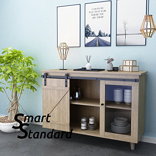 SMARTSTANDARD Mini Cabinet 5ft Sliding Barn Door Hardware for Cabinet TV Stand (Black) (Mini I Shape Hangers) (1 x5 foot Rail) (Door Mirror Barn Faux)