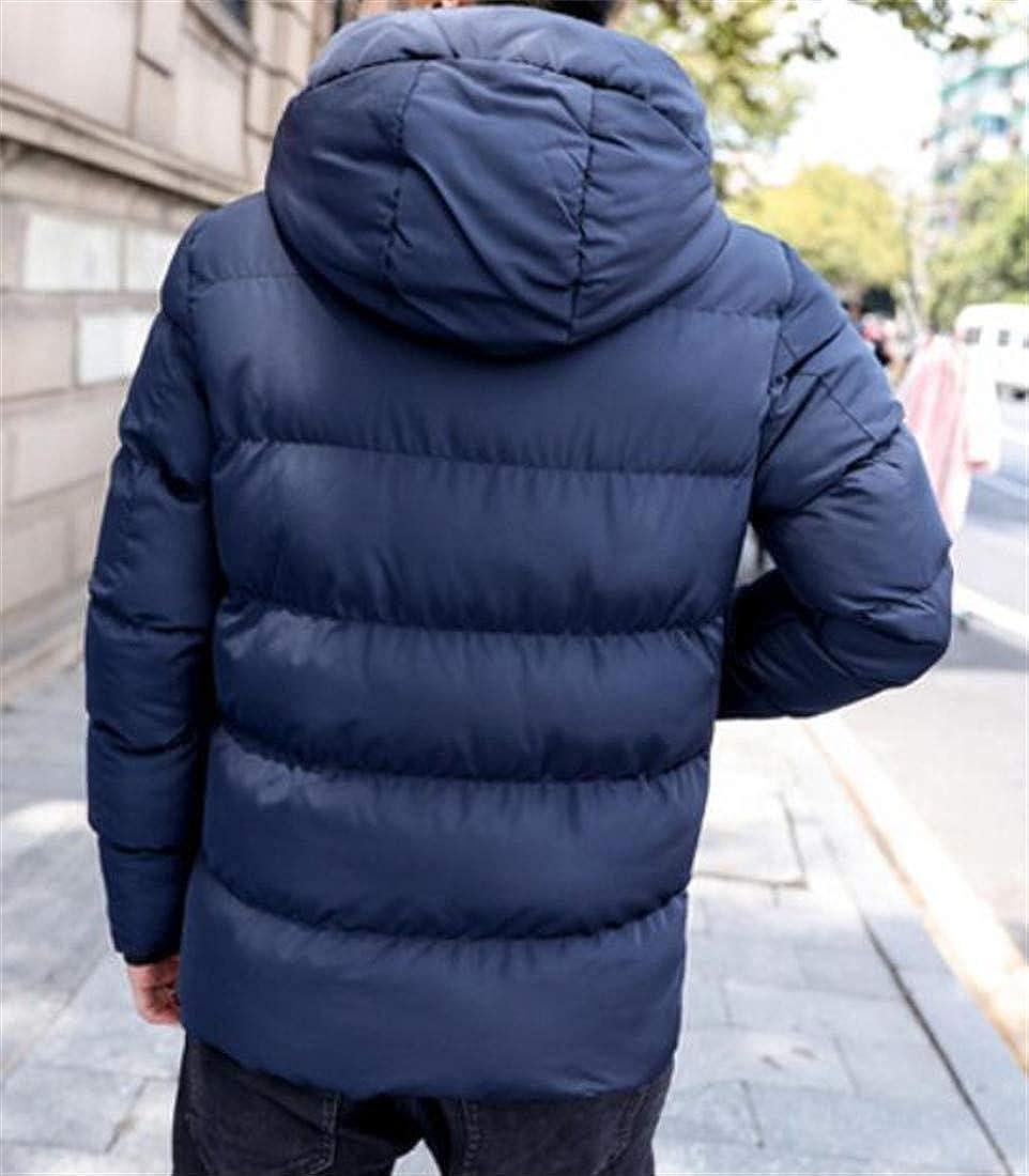 Bigbarry Men Vogue Cotton-Padded Hooded Thicken Puffer Parka Jacket Coat