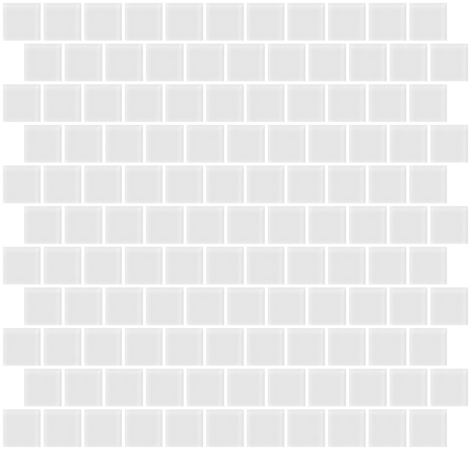 Susan Jablon Mosaics - 1 Inch Super White Frosted Glass Tile Reset In Offset Layout