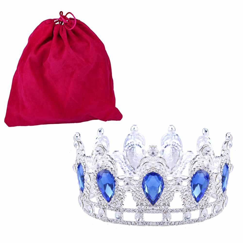 Stuff Clear Rhinestone Teardrop Crown Tiaras Crystal Headband(Blue)