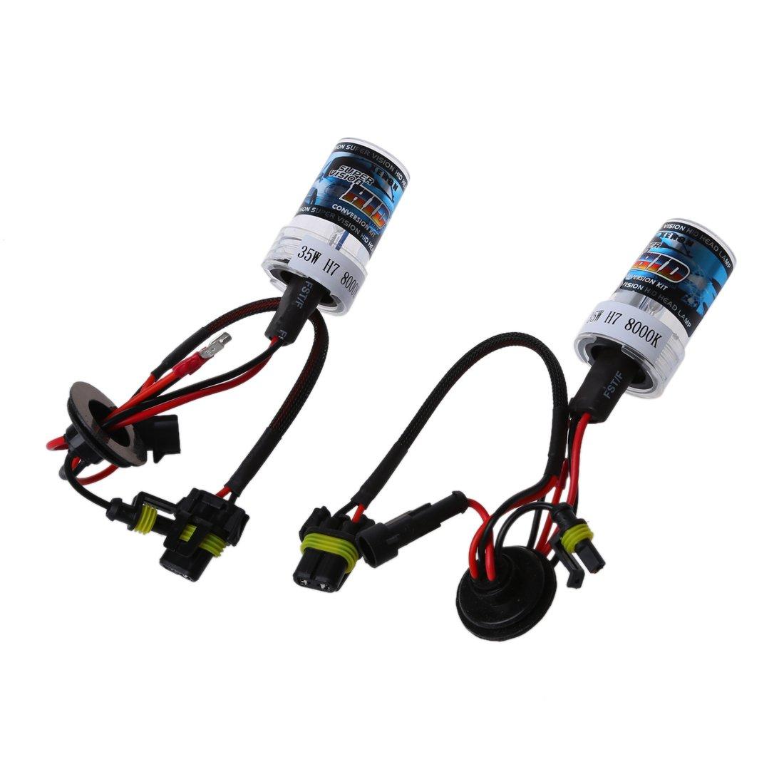Sonline 2X Xenon HID Phare Lampe Car Kit Auto Bulb Pour H7 35W DC 12V H7-8000K