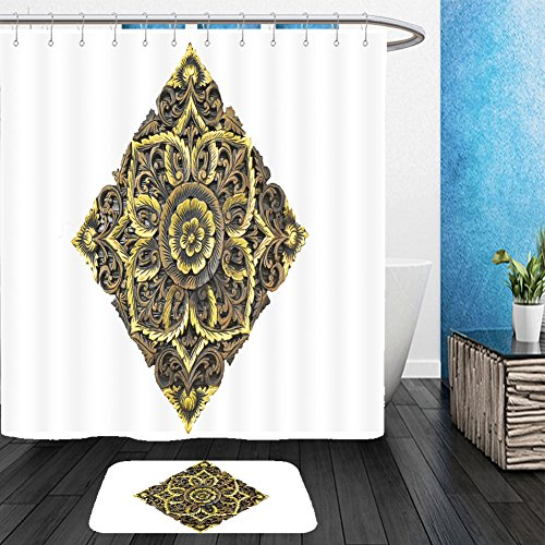 Vanfan Bathroom 2?Suits 1 Shower Curtains & ?1 Floor Mats a beautiful wooden carving on white background 144935326 From Bath room (Superman Pumpkin Carving)