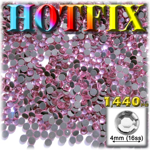 The Crafts Outlet DMC HOT-FIX Glass 1440-Piece Round Rhinestone Embellishment, 4mm, Light Rose Pink