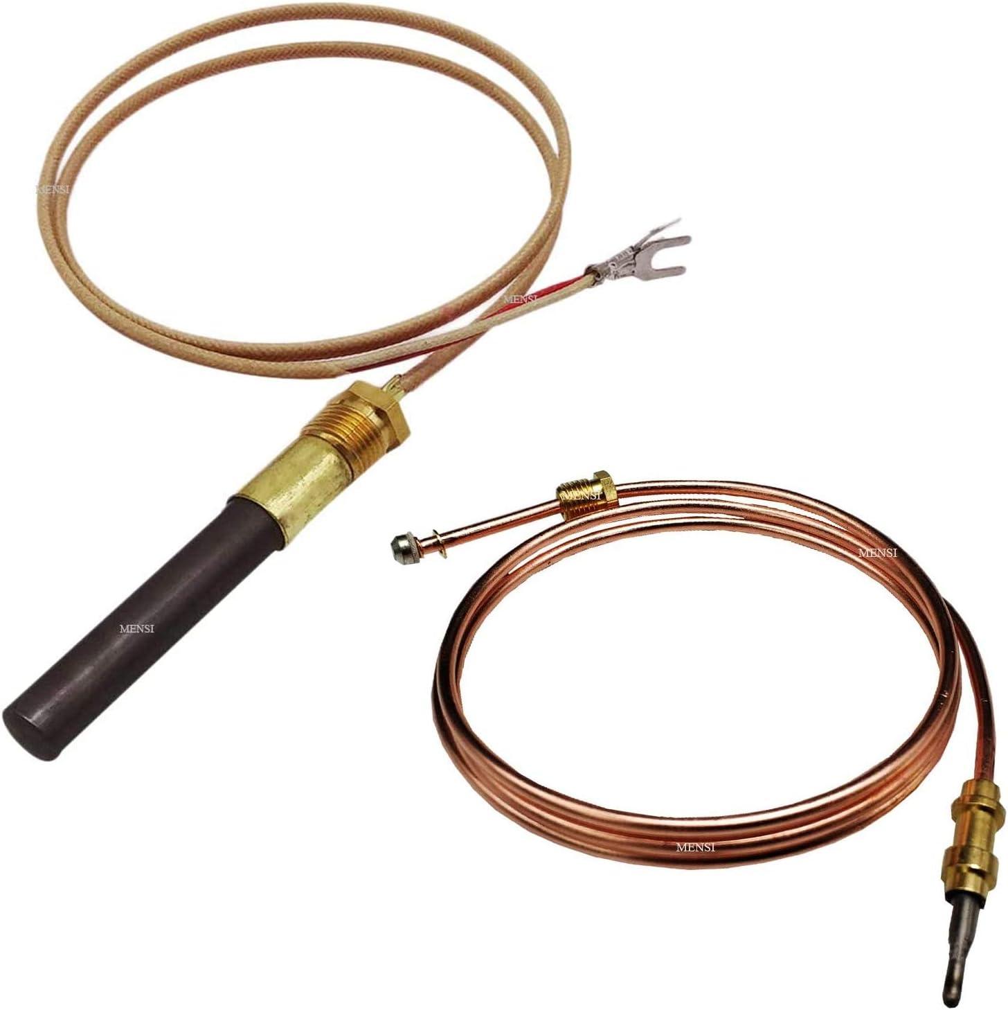 MENSI Propane Gas Fireplace Replacement Thermocoupler Temperature Sensor Minivolt Thermopile Kit