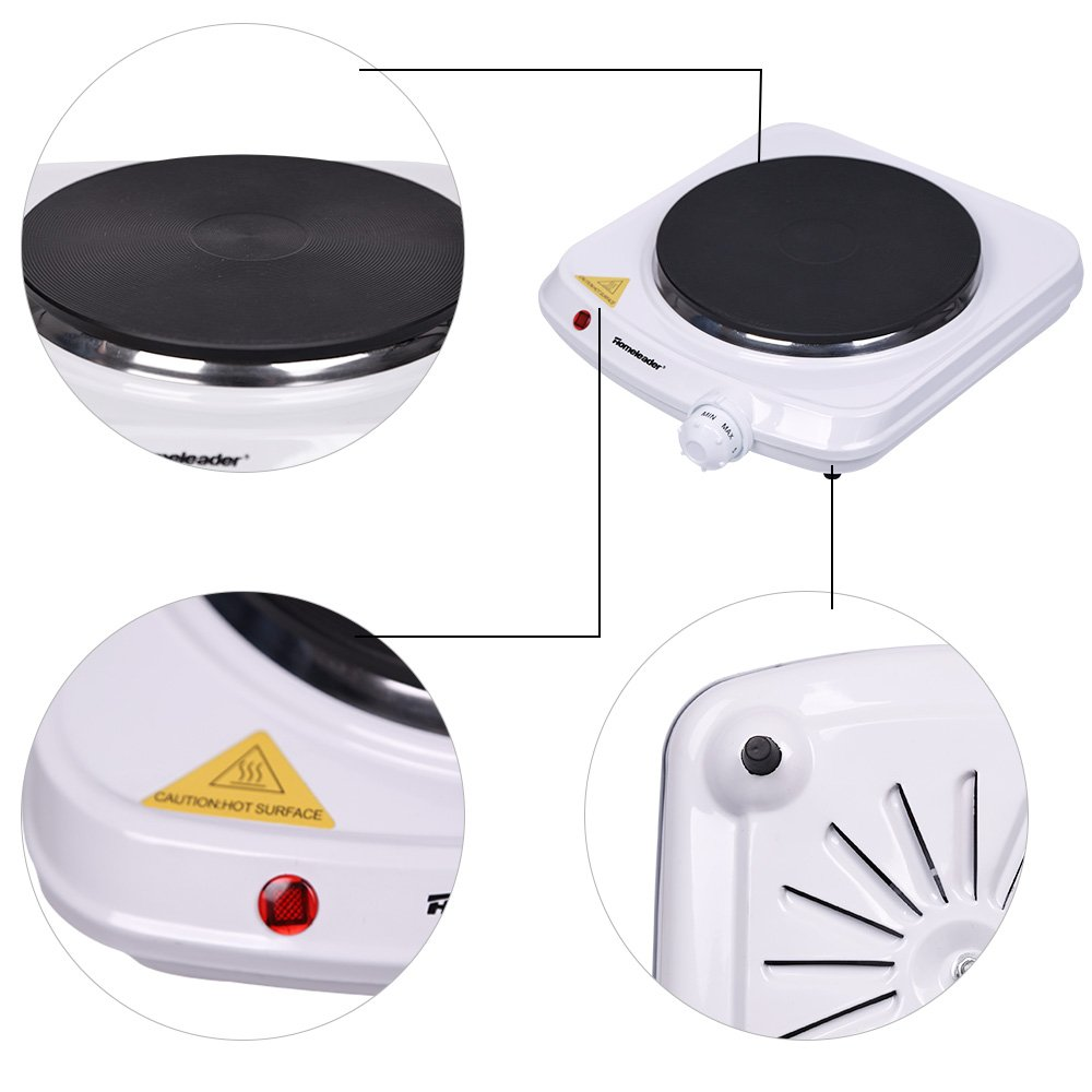 Homeleader Single Hot Plate, Stainless Steel Electric Contertop Burner, 1000W by Homeleader (Image #6)