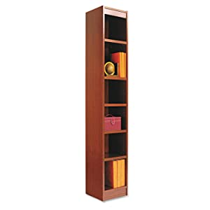 Alera ALEBCS67212MC Narrow Profile Bookcase, Wood Veneer, Six-Shelf, 12w x 72h, Medium Cherry