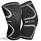 BLITZU Flex Plus Compression Knee Brace Joint Pain, ACL MCL Arthritis Relief Improve Circulation Support Running Gym Workout Recovery Best Sleeves Patella Stabilizer Pad (Large, Black)