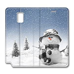 DIY Christmas Gift Leather Case for Samsung Note 4 Snow Gleams White