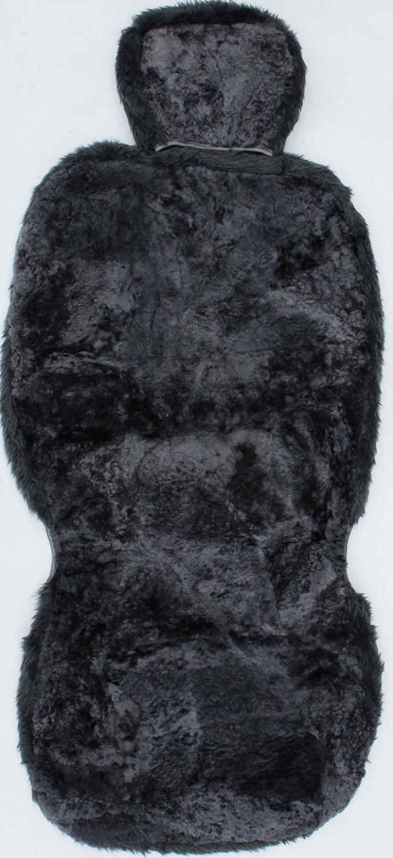 Funda de Coche Universal para Asiento Delantero 1 Unidad Funda de Asiento de Pelo de Cordero con Reposacabezas Color Antracita