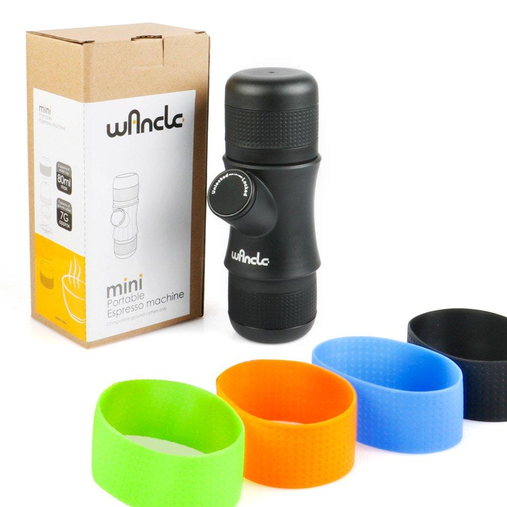 Wancle Mini Portable Espresso Machine Coffee Maker Travel for Camping + 3 Color Silicone Case COMINHKPR140354