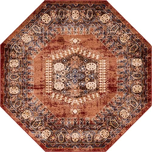 Unique Loom Utopia Collection Traditional Geometric Tribal Warm Tones Terracotta Octagon Rug 7' 0 x 7' 0