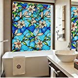 Fancy-fix Vinyl Static Cling Stained Glass Decorative Window Privacy Film 17.7 inches by 59 inches