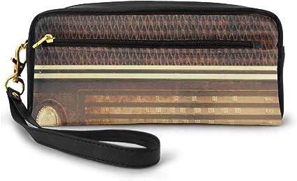 Estuche para lápices, estuche para bolígrafos, estilo antiguo, retro, de los años 60, reproductor de música, altavoces, imagen pequeña, bolsa de maquillaje: Amazon.es: Belleza