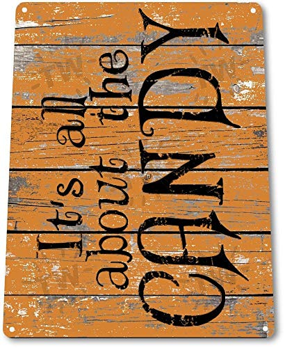 STY Tin Sign 8x12 inches Halloween Candy Holiday Pumpkin Trick Treat Rustic Halloween Metal Decor