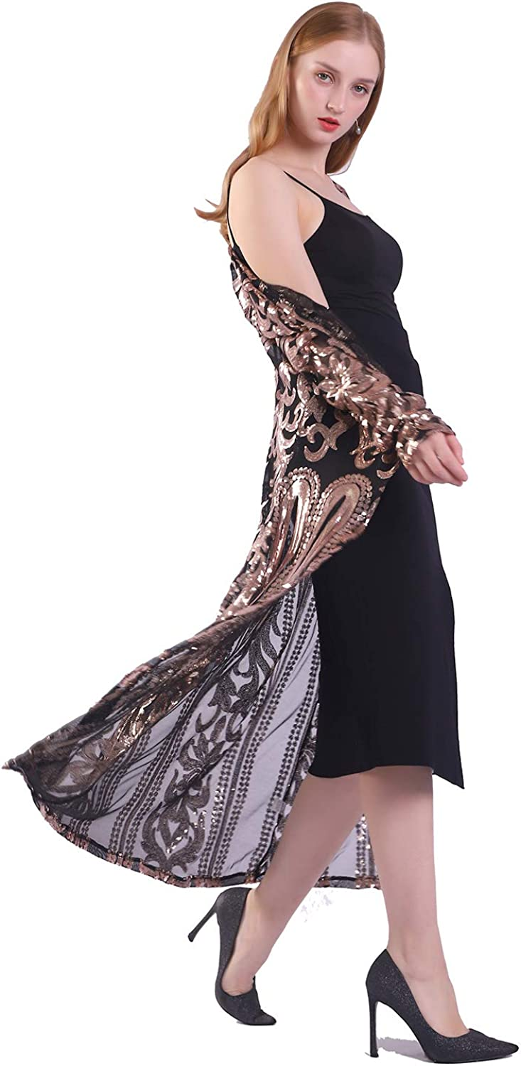 Womens Sequin Cardigan Glitter Sparkle Dress Loose Casual Open Front Coat Dress Summer Party Prom Dresses
